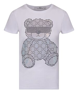 T-shirt Cool Teddy Wit/ Zilver