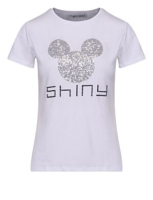 T-shirt Shiny Mickey Wit/ Zilver