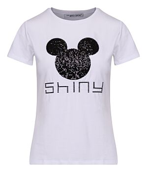 T-shirt Shiny Mickey Wit/ Zwart