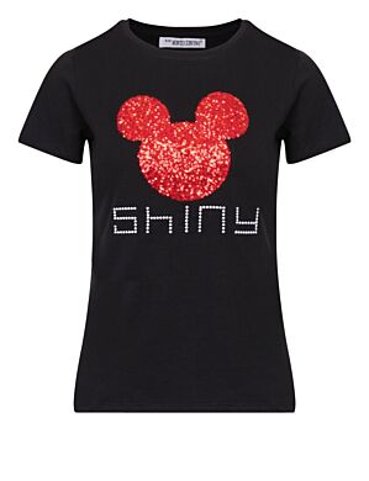 T-shirt Shiny Mickey Zwart/ Rood
