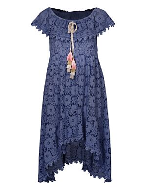 Long Dress Lace Donkerblauw