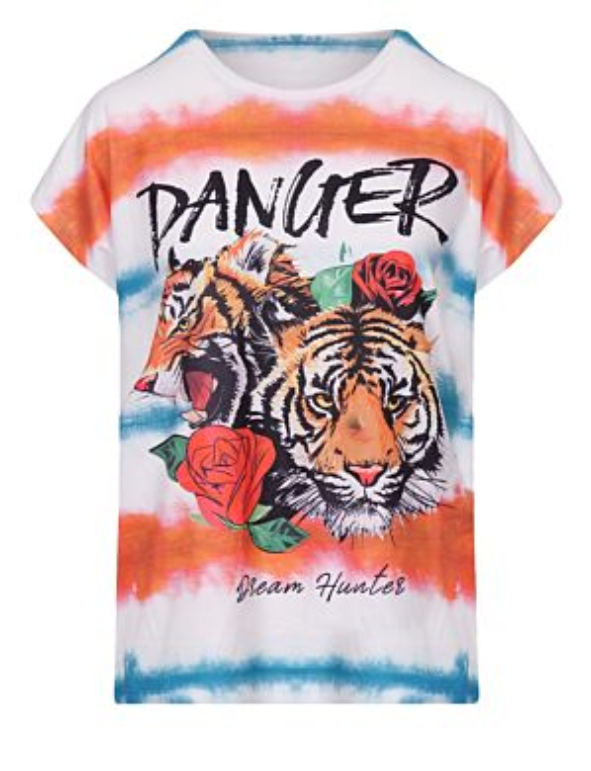 T-shirt Tie Dye Danger Oranje
