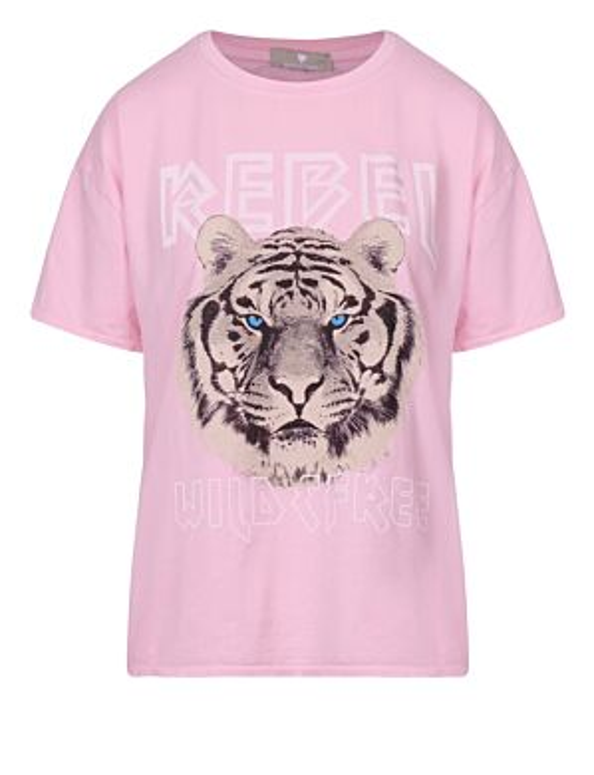 T-shirt Blue Tiger Roze