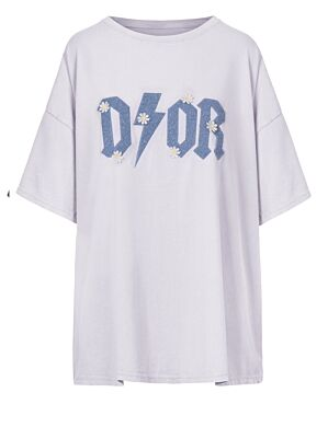 Oversized Tee Flower D!or Wit/Blauw