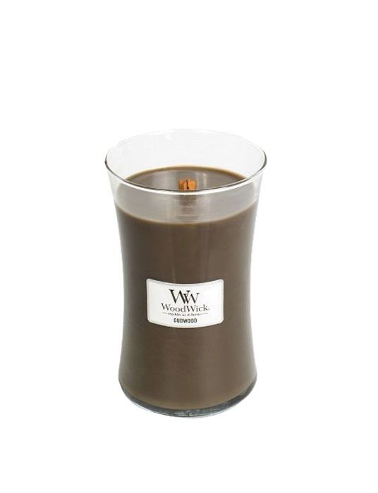 WoodWick | Oudwood Large Candle is een houtige geur.