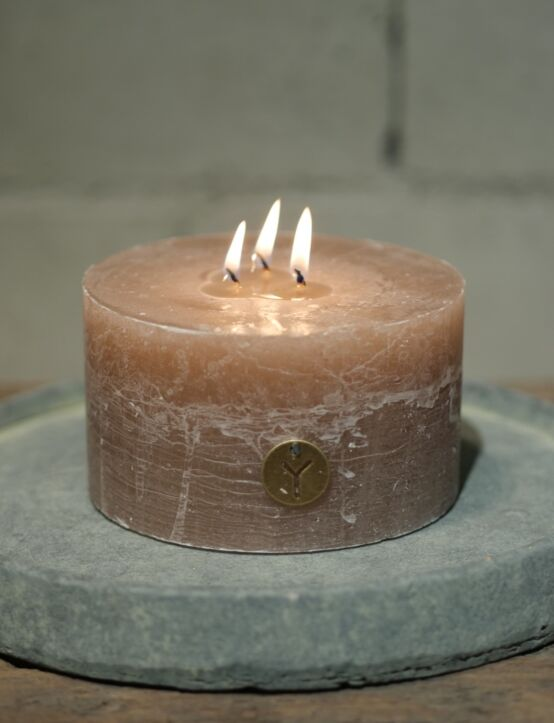 Rustic Candle Taupe D14.H8