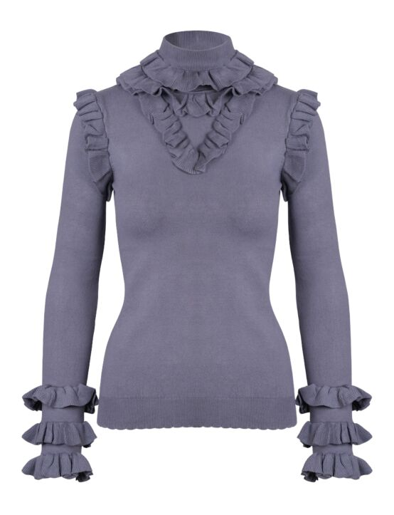 Reinders | Marie Ruffle Top Metal Grey