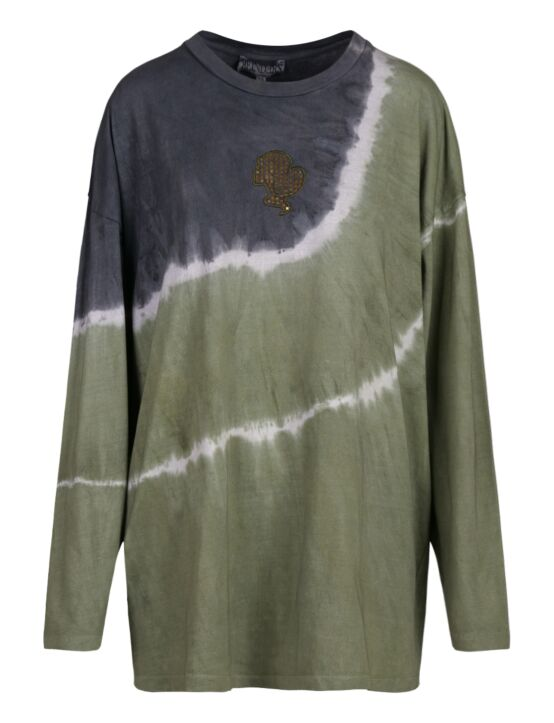 Reinders | T-shirt Tie Dye Long Sleeve Dark Olive