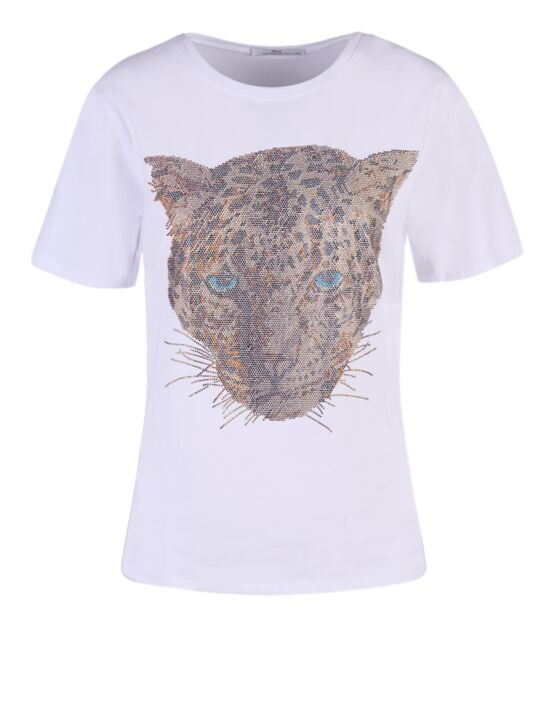 T-shirt Cheetah Wit/ Goud