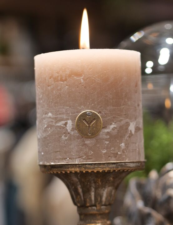 Rustic Candle Taupe D10.H10