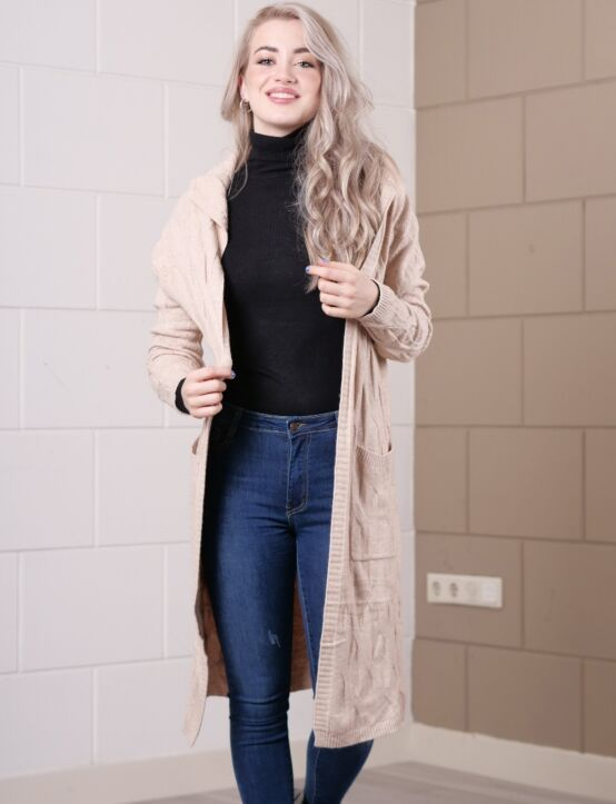 Long Cardigan Cable Beige