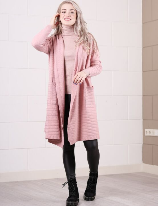 Long Cardigan Stripe Roze