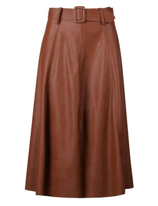 Leather Skirt Stella Long Camel