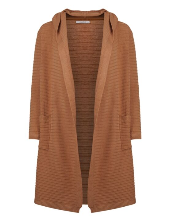 Long Cardigan Stripe Camel