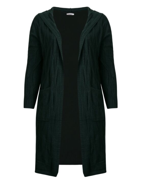 Long Cardigan Cable Groen