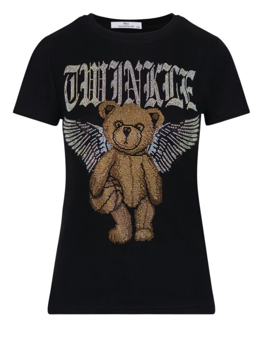 T-shirt Glitter Bear Zwart