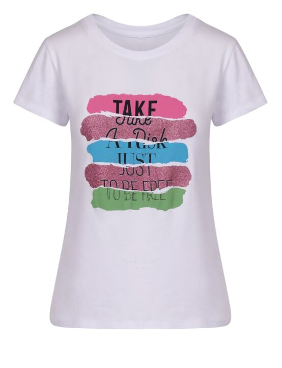 T-shirt Take a Risk Roze
