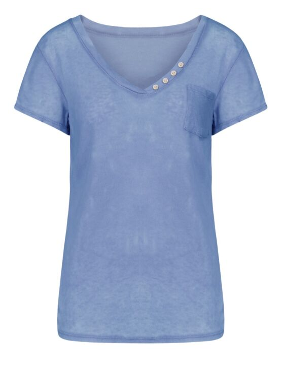 T-shirt Button Blauw
