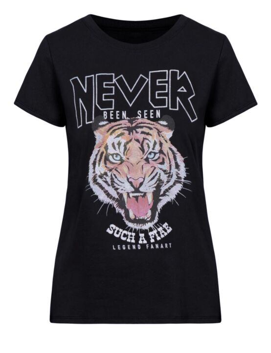 T-shirt Never Zwart