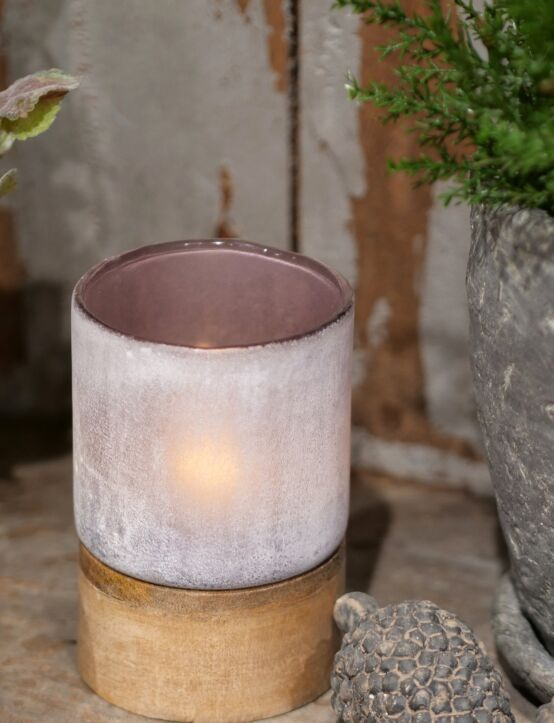 Tealight Woodenbase Purple D9.H13