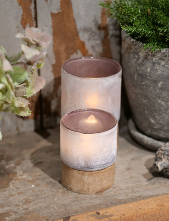 Tealight Woodenbase Purple D6.H7
