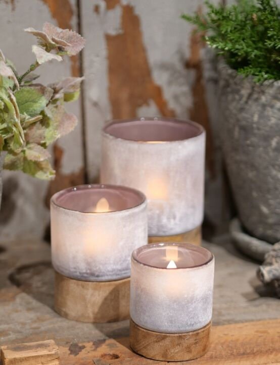 Tealight Woodenbase Purple D8.H10