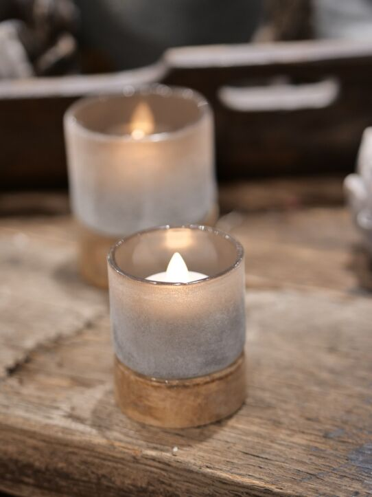 Tealight Woodenbase Taupe D6.H7