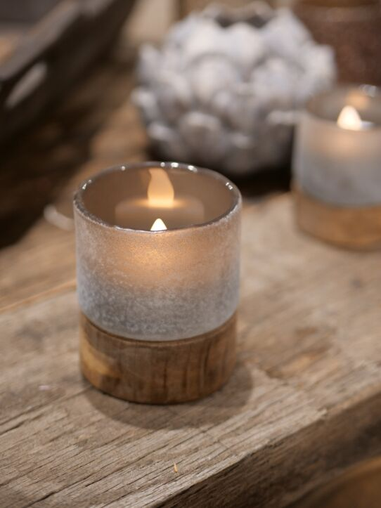 Tealight Woodenbase Taupe D8.H10