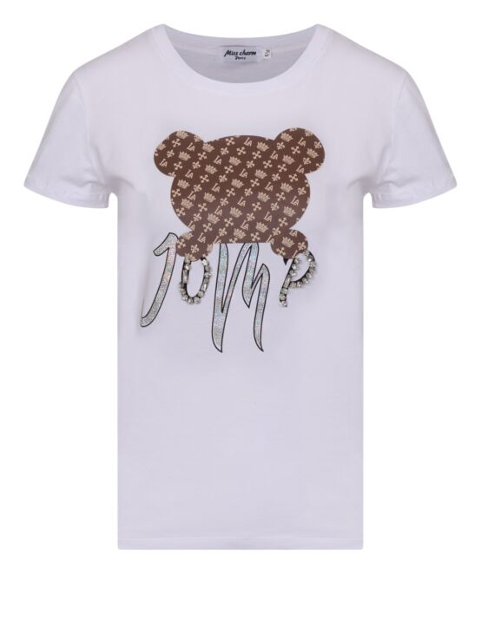 Dit witte T-shirt heeft korte mouwen, een ronde hals en een beer met tekst als opdruk.