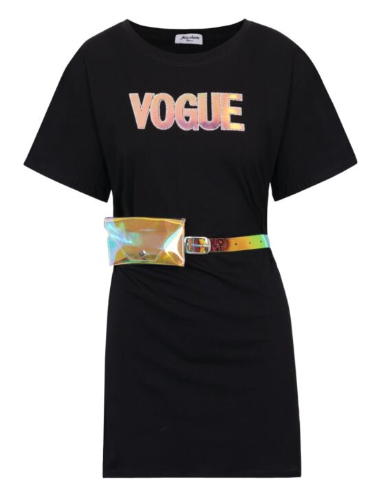 T-shirt Dress Vogue Zwart