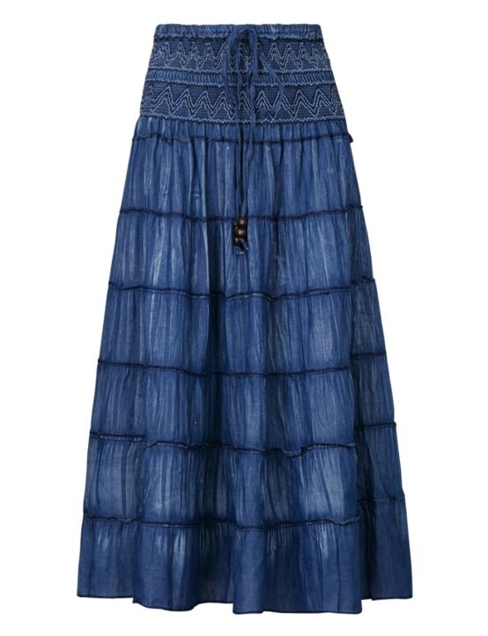Long Denim Skirt Jolene Blauw