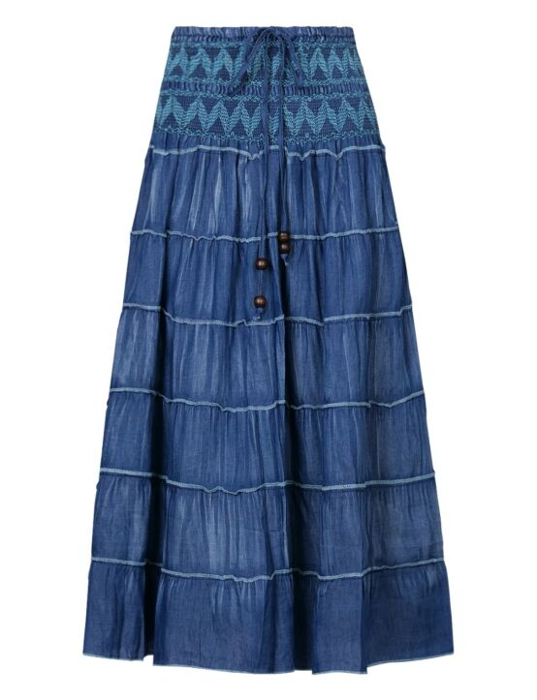 Long Denim Skirt Jolene Turquoise