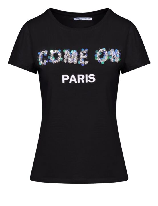 T-shirt Come On Paris Zwart