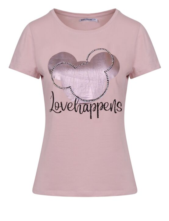 T-shirt Love Happens Roze