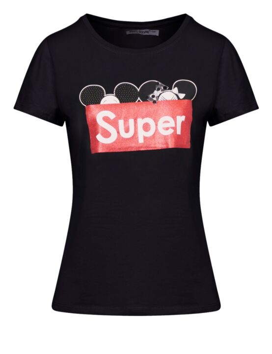 T-shirt Super Zwart