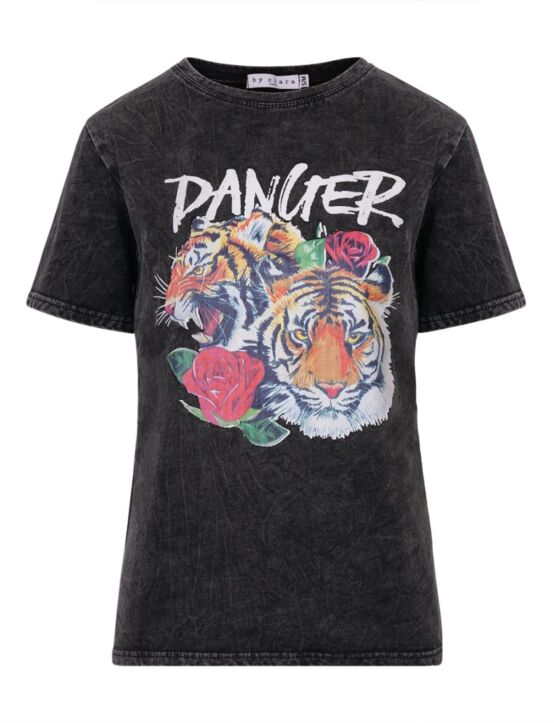 T-shirt Danger Zwart