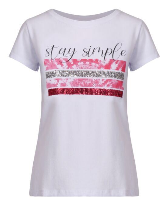 T-shirt Stay Simple Roze