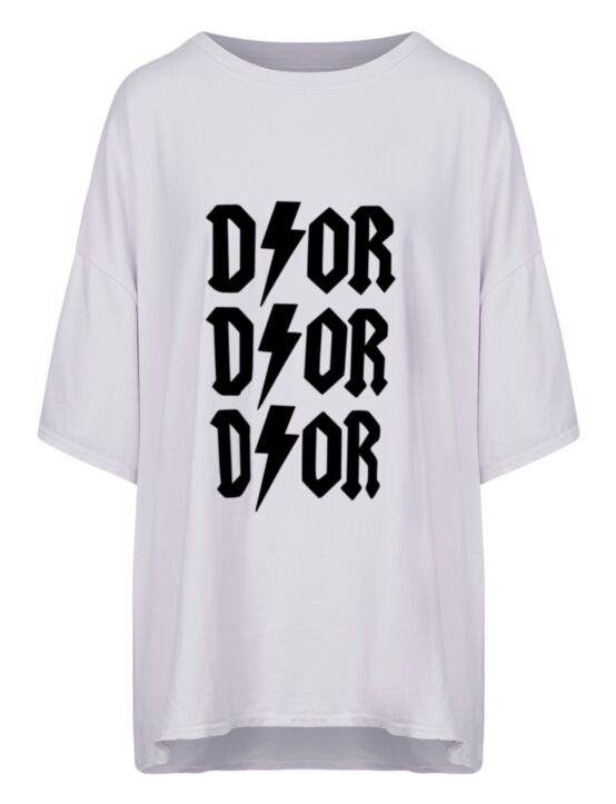 Oversized Tee 3x D!or Wit/ Zwart