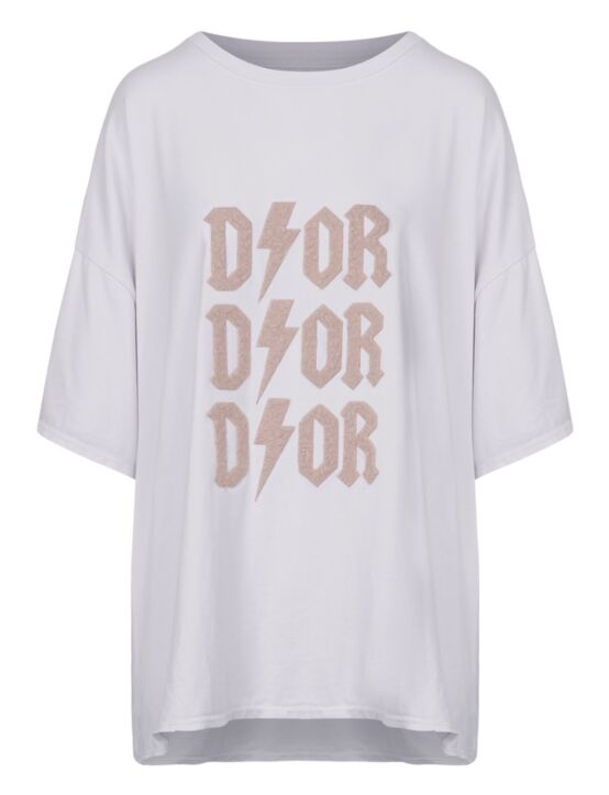 Oversized Tee 3x D!or Wit/ Beige