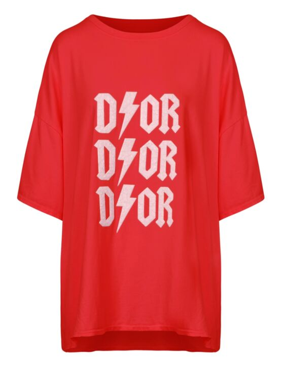 Oversized Tee 3x D!or Rood