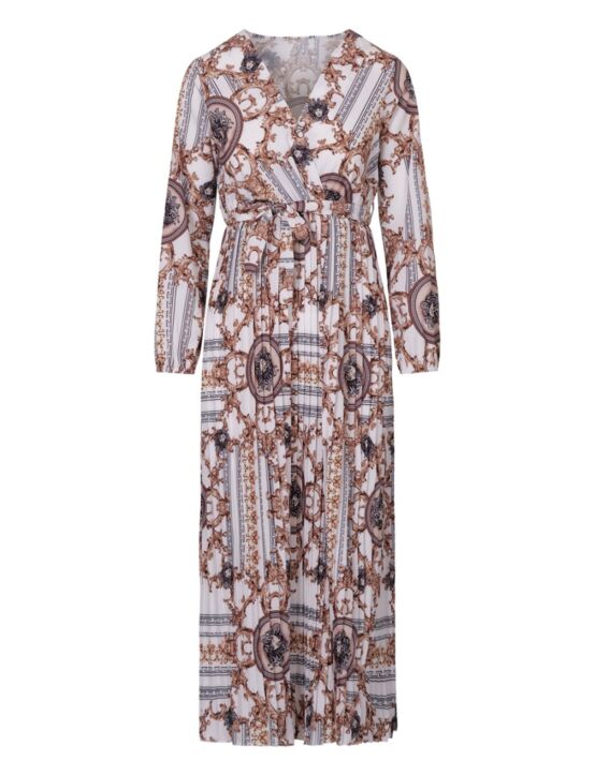 De maxi jurk met lange mouwen, in een wit/ gouden print, heeft een V-hals en een koord.