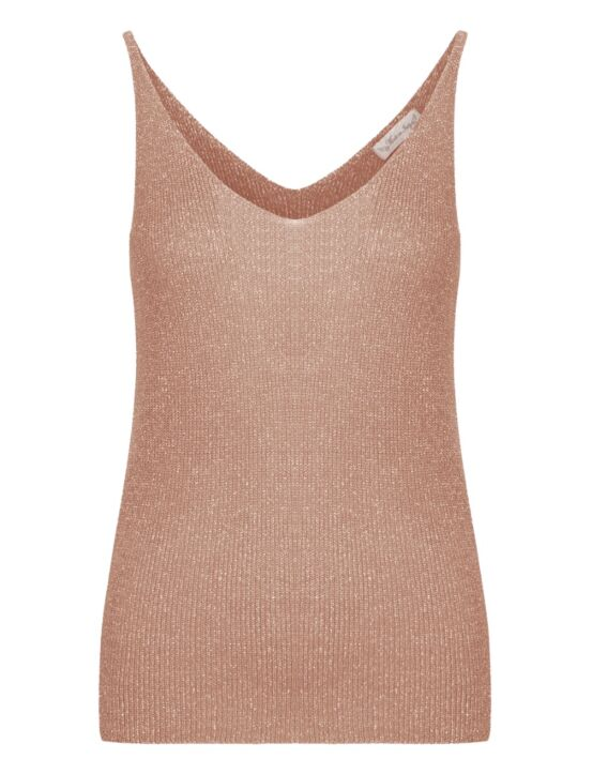 Deze mouwloze top, in een rosé glitter stof, heeft een V-hals.