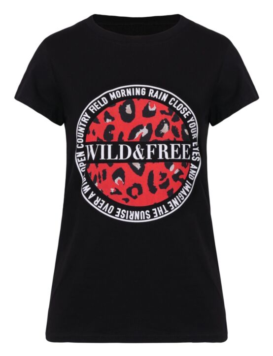 T-shirt Wild & Free Zwart / Rood