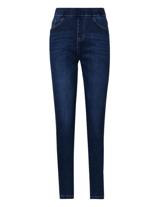 De blauwe skinny spijkerbroek heeft zakken op de voor- en achterkant en een elastische band.