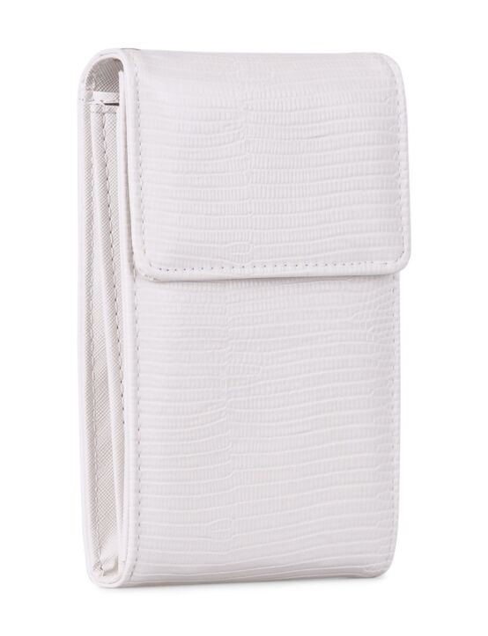 De witte tas heeft meerdere vakken en een hengsel om de tas cross body te dragen.