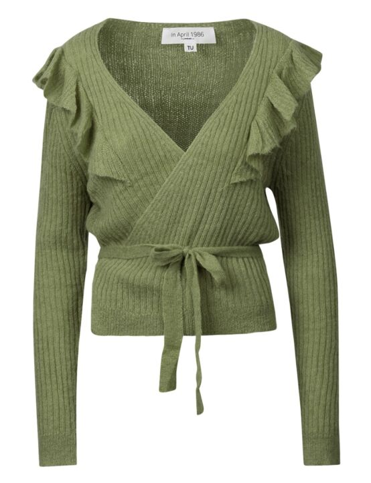 Het groene wikkelvest heeft een koord, V-hals, korte mouwen en ruffles.