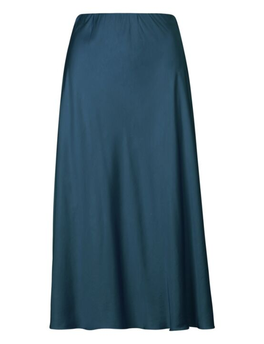 De petrolkleurige rok heeft een elastische taille-band.