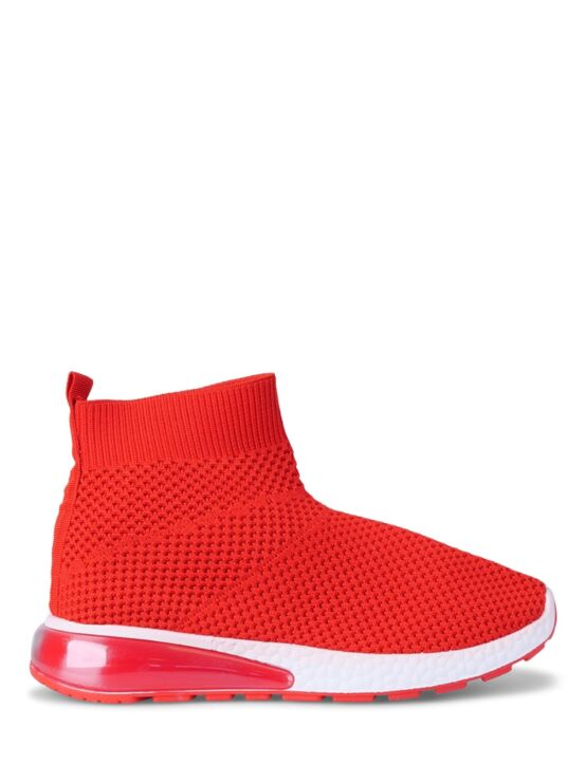 De rode, hoge sneaker is gemaakt van een zachte stof en heeft een rubberen zool.