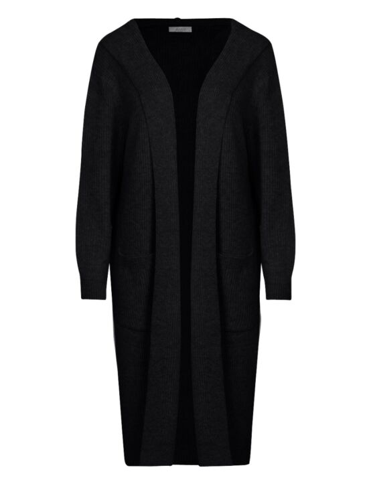 Het zwarte, gebreide vest heeft een muts, lange mouwen, zakken en valt lang.