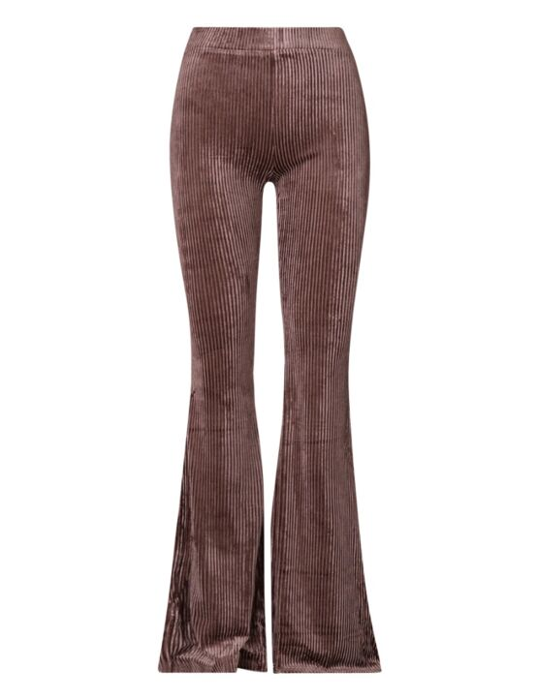 De taupe flared pants, van een ribstof, heeft een suède look en een elastische taille-band.